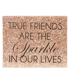 Friendship Rose Gold Sparkly Wall Art,