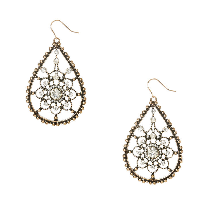 Antique Crystal Drop Earrings,
