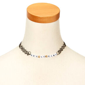 GET IT GIRL Black Tattoo Choker Necklace,