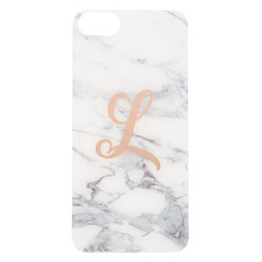 Marbled L Initial Phone Case,