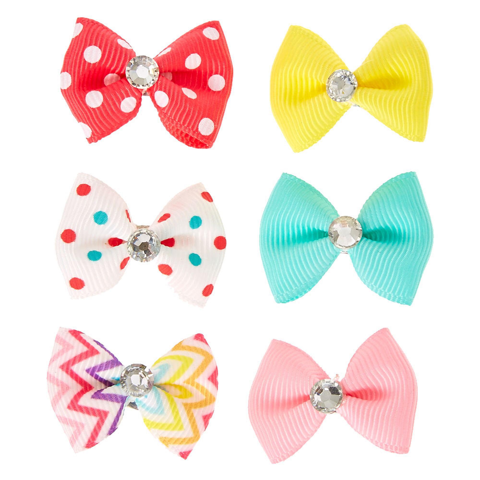 Kids Bright Pastel Mini Ribbed Ribbon Bow Hair Clips