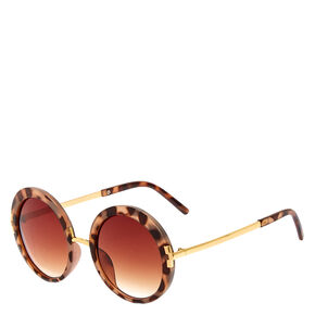 Round Faux Tortise Shell Sunglasses,