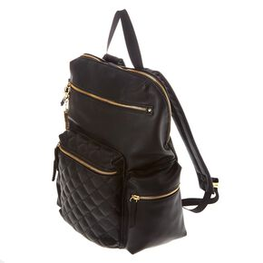 Quilted Black Satin Backpack,