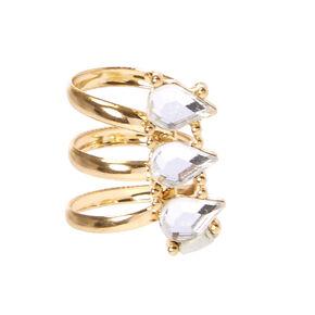 Tripe Teardrop Crystal Gold-tone Ear Cuff,
