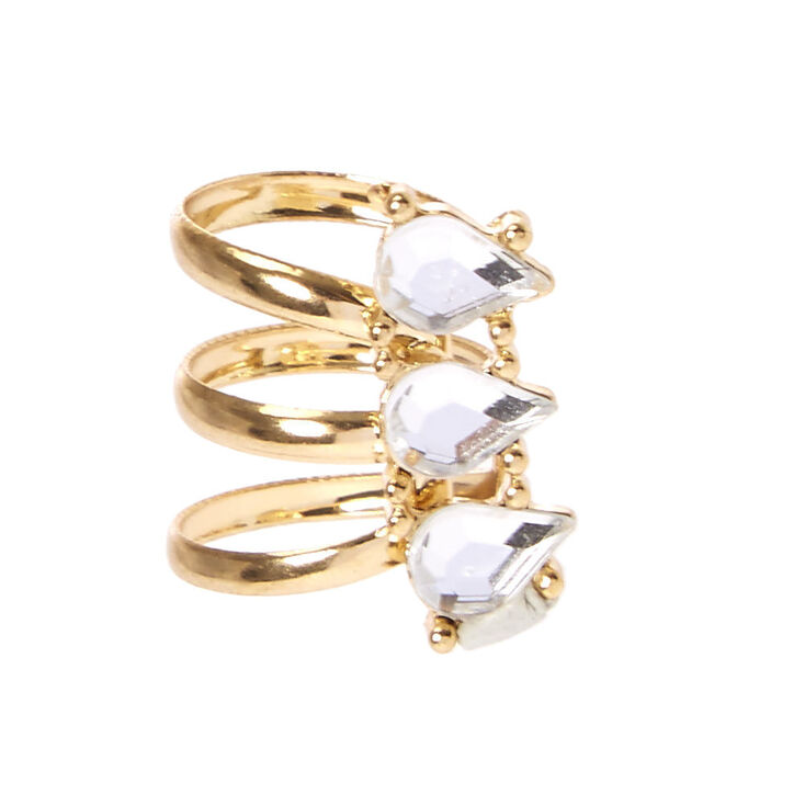 Tripe Teardrop Crystal Gold-tone Ear Cuff,