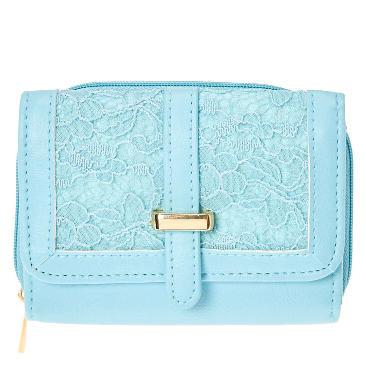 Floral Lace Turquoise Faux Leather Wallet at Icing in Victor, NY | Tuggl