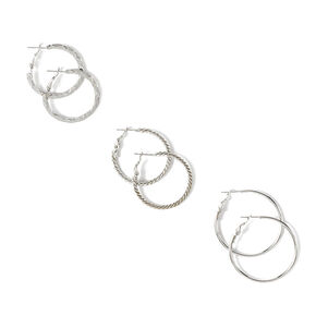 Assorted Textures Small Hoop Earrings Set of 3,