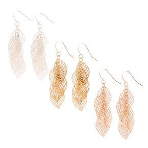 Cascading Metal Leaves Drop Earrings,