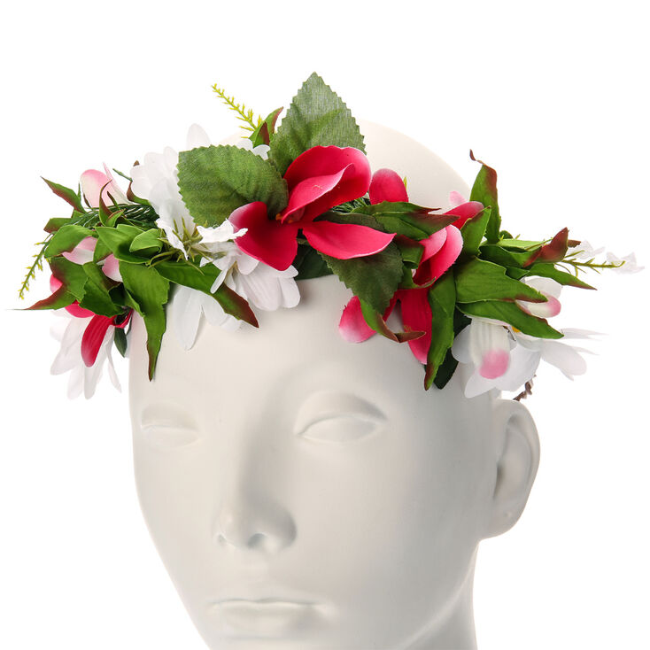 Daisy and Lily Flowers Garland Headwrap,