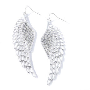 Silver Crystal Accent Wing Drop Earrings,