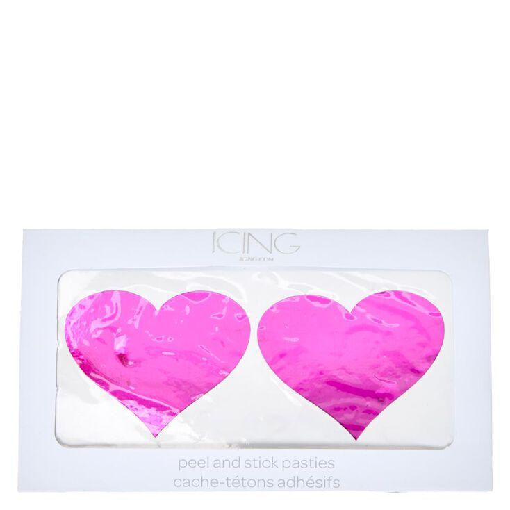 Metallic Pink Heart Pasties,