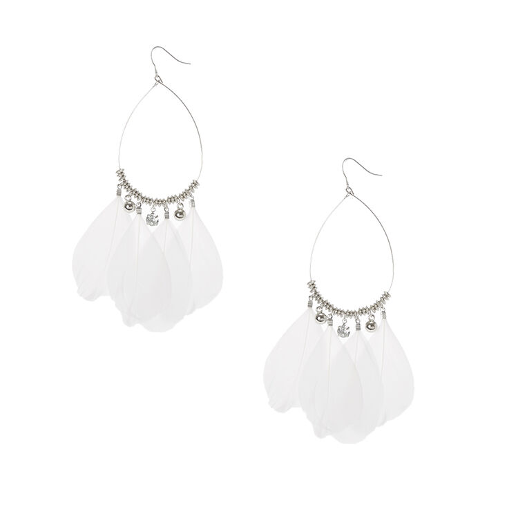 Silver Drop Earrings with Feathers,