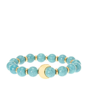 Gold Moon and Turquoise Bead Stretch Bracelet,