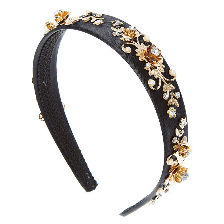 Black Baroque Gold  and Faux Pearl  and Crystal Headband,
