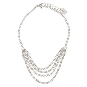 Multi Layered Silver Tone Chain Anklet,