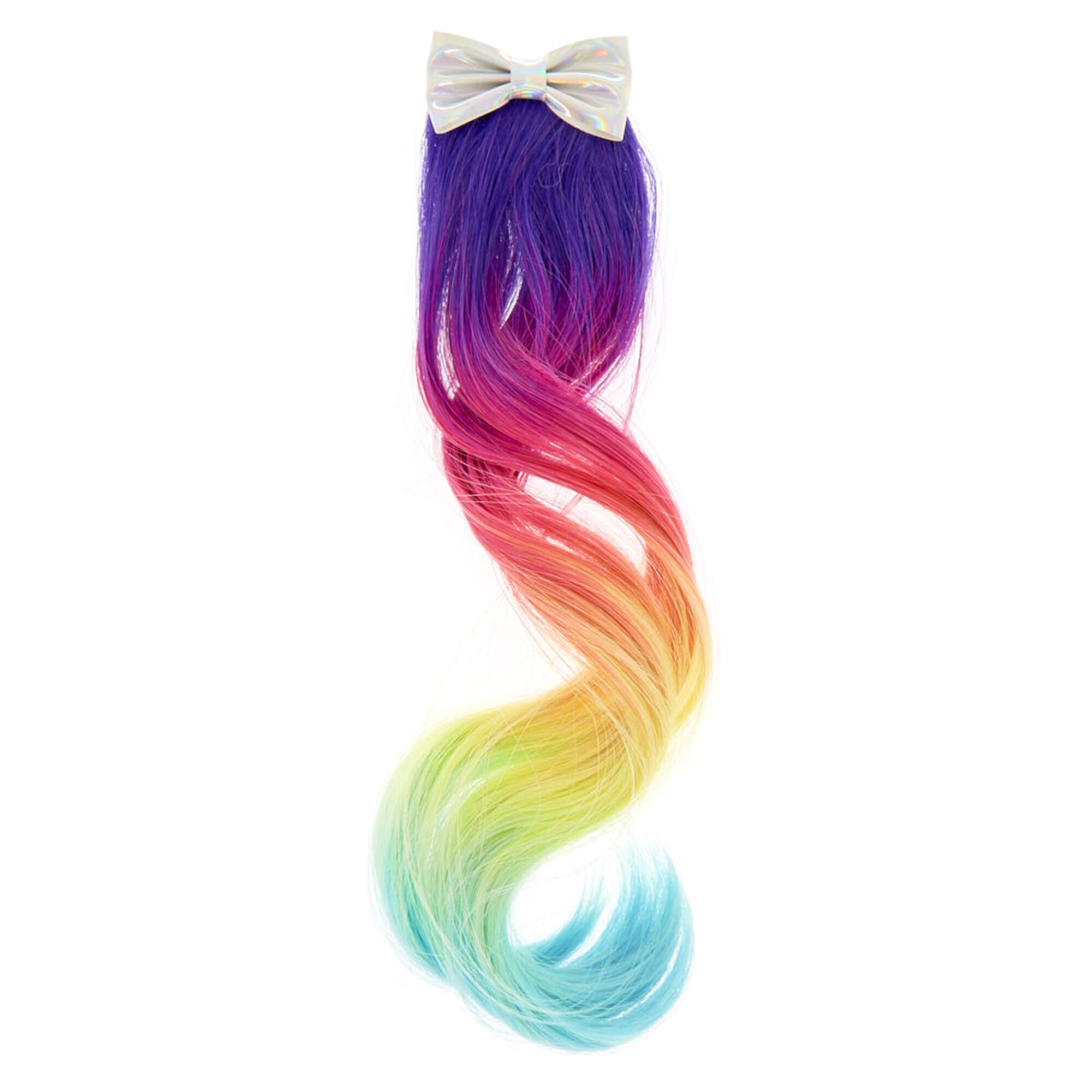 Kids Rainbow Ombre Faux Hair Clip With Holographic Bow