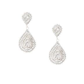 Layered Rhinestone Teardrop Outlines Drop Earrings,