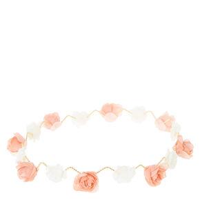 Peach and White Zig Zag Flower Crown,