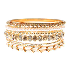 Gold, Pearl, Iridescent Crystal and Pink Thread Wrapped Bangle Bracelets Set of 8,