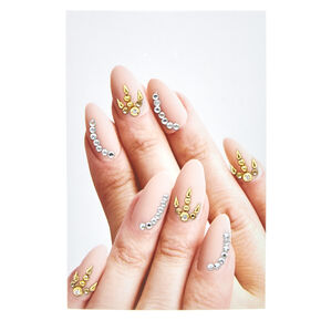 Gold and Clear Nail Gems,