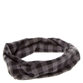 Black and Gray Buffalo Check Headwrap,