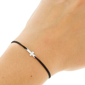 Black Double Stretch Bracelet with Cross,