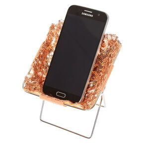 Rose Gold Sequin Phone Holder Chair,