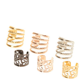 Mixed Metal Filigree and Multi Band Ear Cuffs,