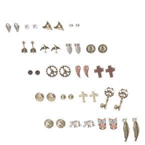 Burnished Gold Festival Stud Earrings Set of 20,