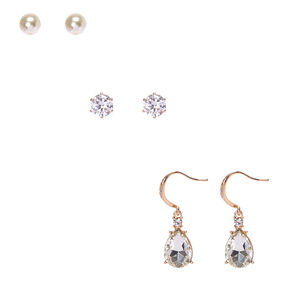 Bridal Bar Bride Cubic Zirconia  Earring Trio,