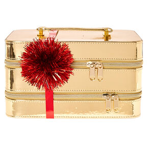 Metallic Gold Double Layered Makeup Case Set,