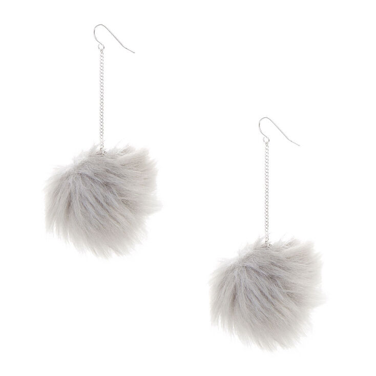Gray Pom Pom Drop Earrings,