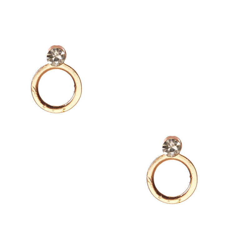 18Kt Rose Gold Plated Circle Crystal Earrings,