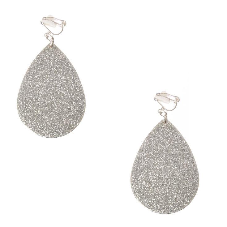 Silver Glitter Teardrop Clip-on Drop Earrings,