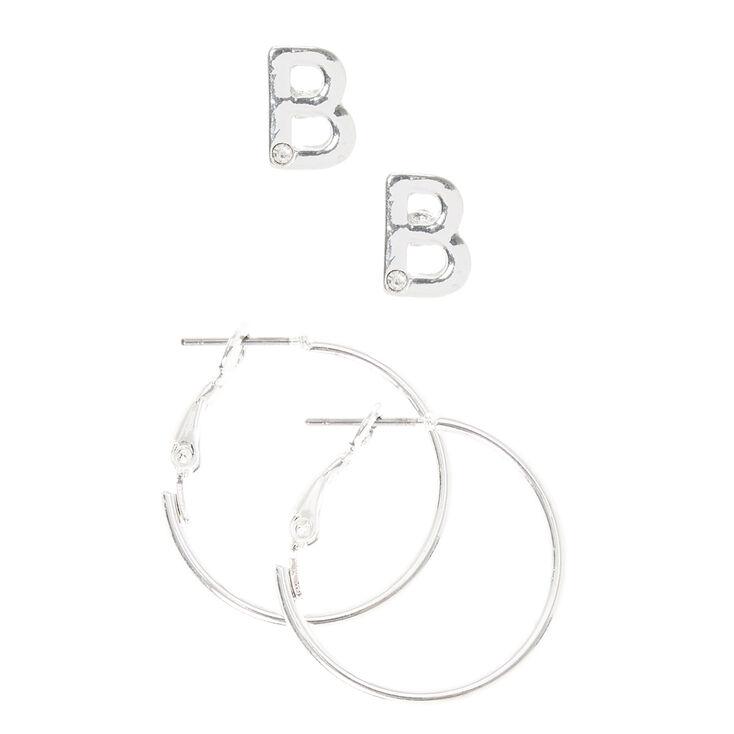 Silver Initial B Stud and Mini Hoop Earrings,