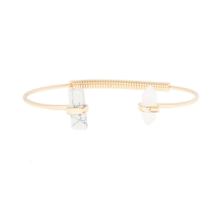 Howlite and Clear Stones Open Cuff Bracelet,
