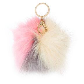 Neopolitan Faux Fur Pom Pom Keychain,