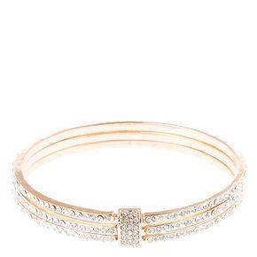 Rose Gold Tone Glass Stone Cuff,