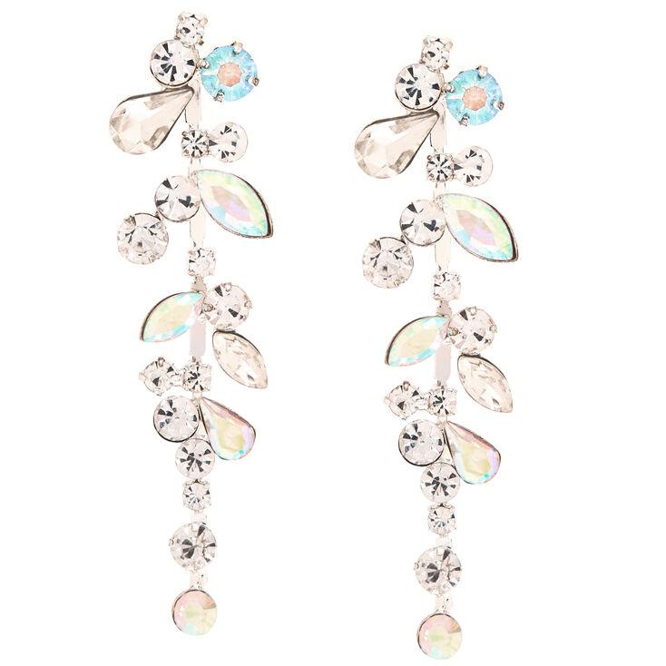 Crystal and Stone Bundle Drop Earrings,