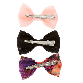 Solid and Floral Print Mini Chiffon Bow Hair Clips,