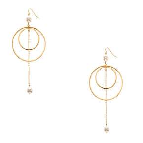 Gold-Tone and Pearl Double Hoop Earrings,