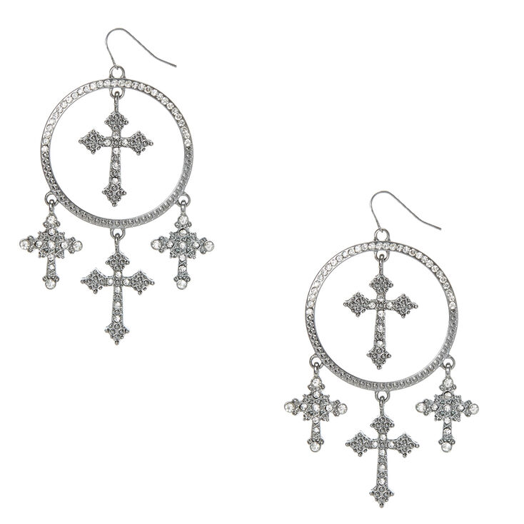 Hematite Circle and Crosses Drop Earring,