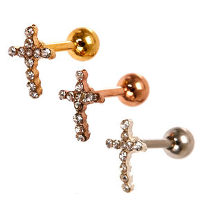 14G Stainless Steel Gold Bling Cross Earrings,