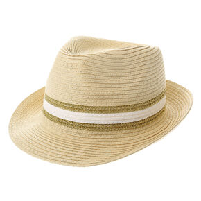 White and Gold Stripe Fedora Hat,