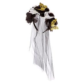 Butterfly Flower Crown Veil Headband,