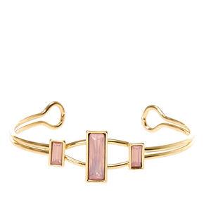 Pink Square Gem Cuff Bracelet,