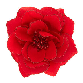 Red Glitter Rose Hair Barrette,
