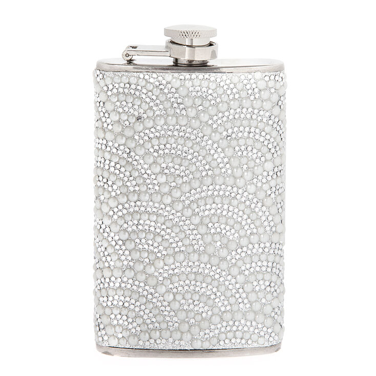 Scalloped Rhinestone and Pearl Flask,