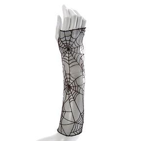 Black Spider Web Fingerless Gloves,
