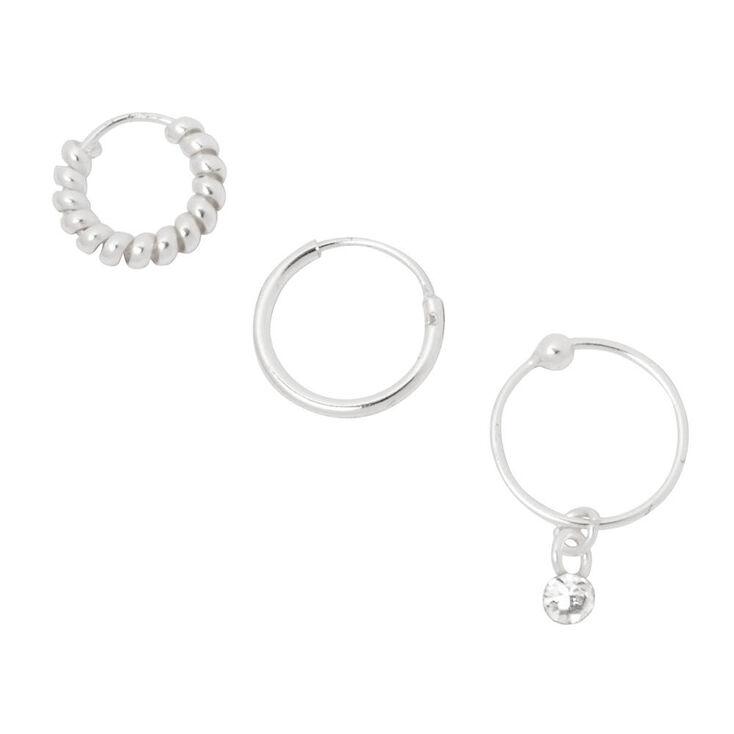 Sterling Silver Cartilage Silver Hoop Earrings 3 Pack ...